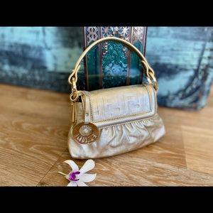 Authentic Fendi Mini Bag Light Gold Flap w Charm